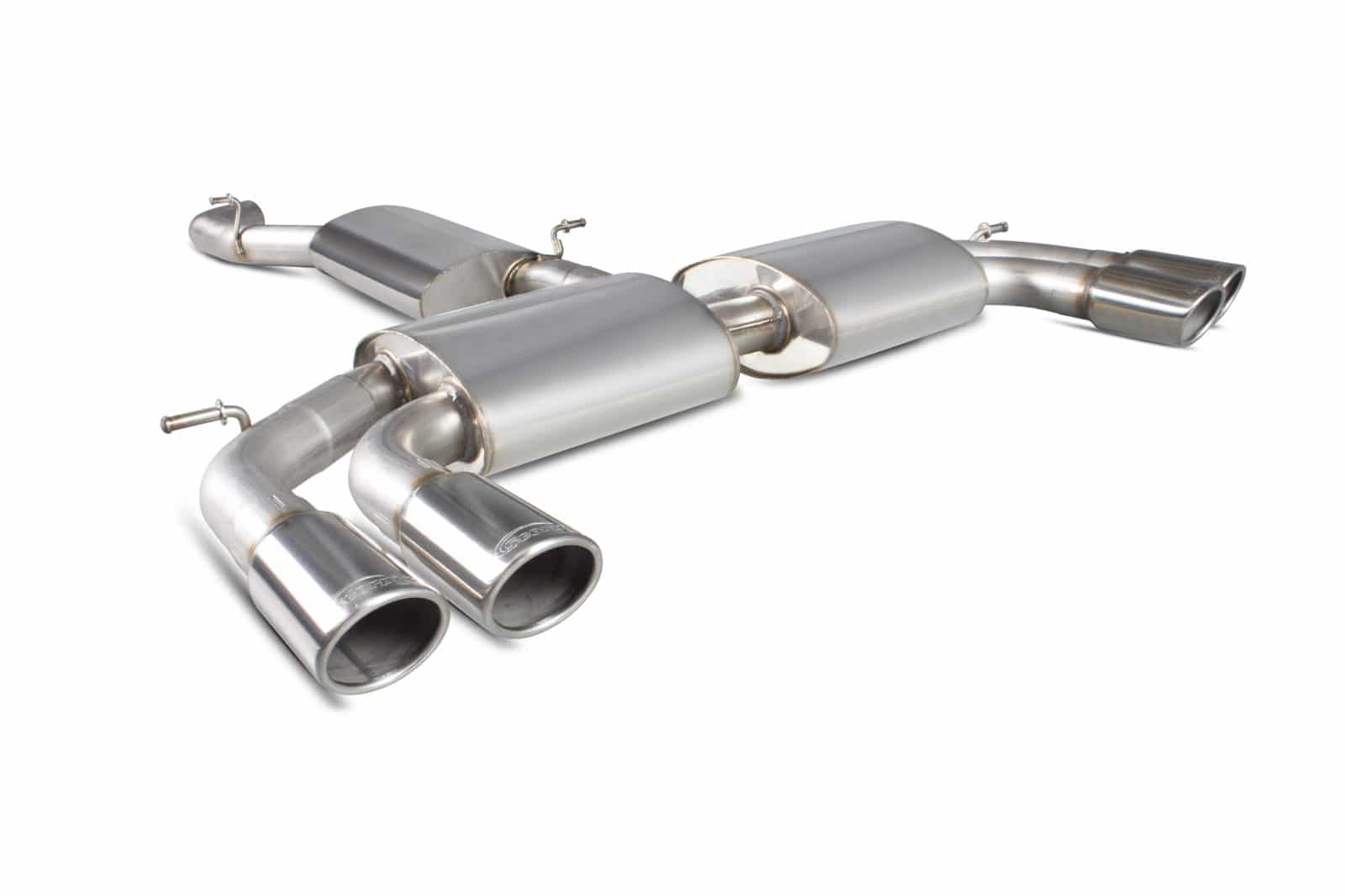 Scorpion Audi S3 2 0T 8V (Saloon) Resonated Cat-Back Exhaust with No  Valves- Polished Quad Monaco Tips - SAU052